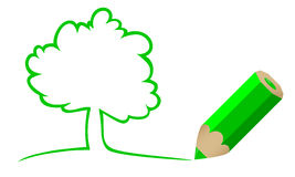 Tree drawn by a pencil Royalty Free Stock Image