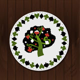 A Tree - Drink Coaster from Wonderland Forest. Or Garden on Wooden Background. Printable Vector Illustration for Graphic Projects, Parties , scrapbooking and Royalty Free Stock Image
