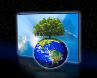 Tree on earth. The last tree on earth with a sky backdrop.  Concept to indicate a museum type quality and depict the last planet and the last tree.  Starfield Royalty Free Stock Photo