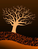 Tree and earth. Vector illustration of a barren tree and earth detail, dark colours Royalty Free Stock Photography