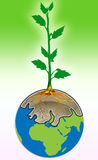 Tree on earth. The tree displayed with roots soil is inside of earth with green gradient background stock illustration