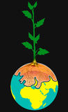 Tree on earth. The tree displayed with roots soil is inside of earth with black colour background royalty free illustration