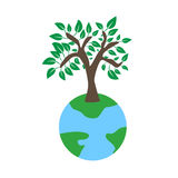 Tree on earth ecology concept. Vector illustration in flat design style. Creative drawing on global environment. Modern template for infographics or logo Stock Photos