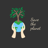 Tree on earth ecology concept. Vector illustration in flat design style. Creative drawing on global environment. Modern template for infographics or logo Stock Images