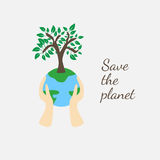 Tree on earth ecology concept. Vector illustration in flat design style. Creative drawing on global environment. Modern template for infographics or logo royalty free illustration