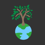 Tree on earth ecology concept. Vector illustration in flat design style. Creative drawing on global environment. Modern template for infographics or logo Royalty Free Stock Image