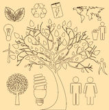 Tree ecology icons Royalty Free Stock Photo