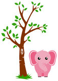 Tree and Elephant Royalty Free Stock Images