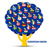 Tree with european union flags apples. Vector illustration of tree with european union flags apples Stock Images