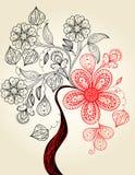 tree för illustration för teckningsblomninghand Arkivbilder