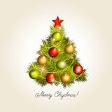 Tree för nytt år med toys stock illustrationer