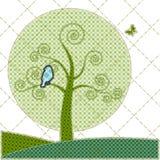 tree för patchwork för födelsedagkortillustrationer Arkivfoton