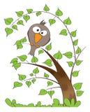 tree för rolig limefrukt för fågelfilial sittande stock illustrationer