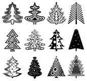 tree för set för juldesignelement Royaltyfri Bild