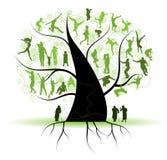 tree för silhouettes för familjfolksläktingar Royaltyfria Bilder