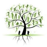 tree för silhouettes för familjfolksläktingar Arkivbild