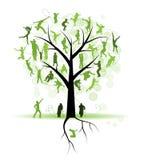 tree för silhouettes för familjfolksläktingar Royaltyfri Foto