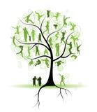 tree för silhouettes för familjfolksläktingar Fotografering för Bildbyråer