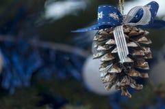 tree för snow för prydnad för godisrottingjul Arkivfoto