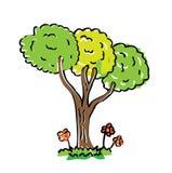 tree för tecknad filmfärgteckning Arkivfoto