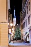 tree för town för julgrankorridor Arkivfoton