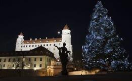 tree för bratislava slottjul royaltyfri fotografi