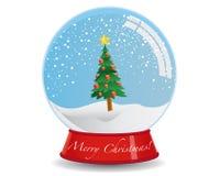 tree för juljordklotsnow stock illustrationer