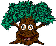 Tree With Face. A cartoon illustration of a friendly looking tree with a smiling face in the trunk Stock Photo