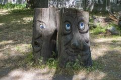 A tree with a face in the middle of the grass. stock photo