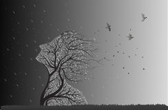 Tree face before storm. And bird fly out from her branch, black and white plant surrealism icon Royalty Free Stock Photo