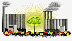 Tree between factories Royalty Free Stock Photo