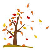 Tree in fall. Illustration of a tree in fall with falling leaves in wind Stock Images