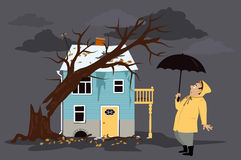 Tree fallen on a house Royalty Free Stock Photography