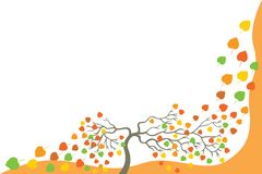 Tree with falling leaves. Royalty Free Stock Photo