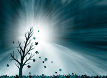 Tree with falling leaves illustrates mourning Stock Images