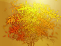 Tree with falling leaves, illustration Royalty Free Stock Photo