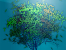 Tree with falling leaves, illustration Royalty Free Stock Images