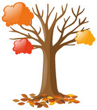 Tree with falling leaves. Illustration Royalty Free Stock Photo