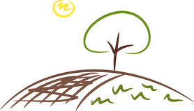 Tree on a field. Simple illustration of a tree on a field in the summer sunshine Stock Photo