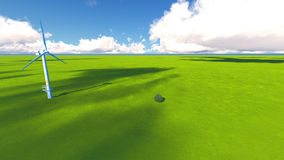 Tree field of grass and perfect sky landscape 3D rendering. Green Tree field of grass and perfect sky landscape 3D rendering Royalty Free Stock Images