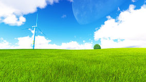 Tree field of grass and perfect sky landscape 3D rendering. Green Tree field of grass and perfect sky landscape 3D rendering Stock Image