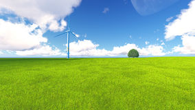 Tree field of grass and perfect sky landscape 3D rendering. Green Tree field of grass and perfect sky landscape 3D rendering Stock Photography
