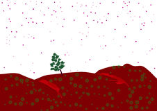 Tree in the field. Lone tree under a starry sky in a field Royalty Free Illustration