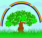 Tree in the field and rainbow on the sky. Vector illustration of tree in the field and rainbow on the sky Stock Photography