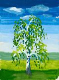 Tree in the field. watercolor Royalty Free Stock Photos