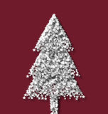 Tree fir xmas on red backdrop made from white. Hoarfrost particles - vector Stock Photos