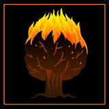 Tree on fire icon. Tree on fire artistic vector icon on the black background.. Can be used in a wide range of concepts Royalty Free Stock Photo