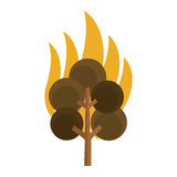 Tree on fire icon. Simple flat design tree on fire icon  illustration Stock Images