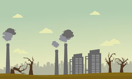 Tree on fire with pollution industry landscape. Vector Stock Photo