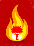 Tree in fire. Vintage vector poster with tree in fire Royalty Free Stock Photo
